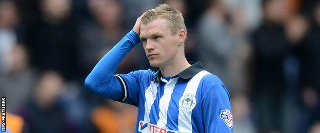Billy Mckay in Wigan Athletic colours