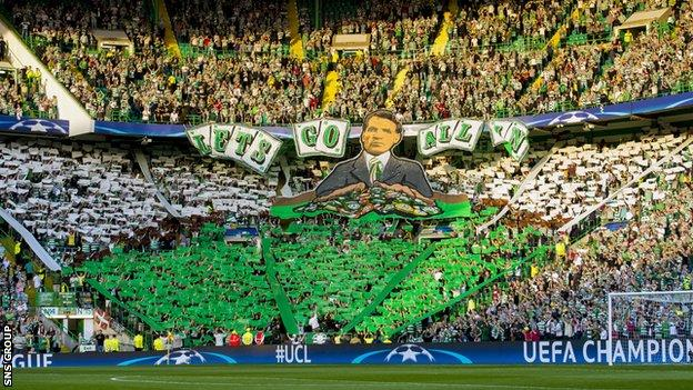 Celtic supporters in the Green Brigade section of the stadium