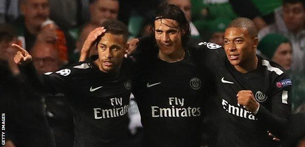 Neymar, Kylian Mbappe and Edinson Cavani