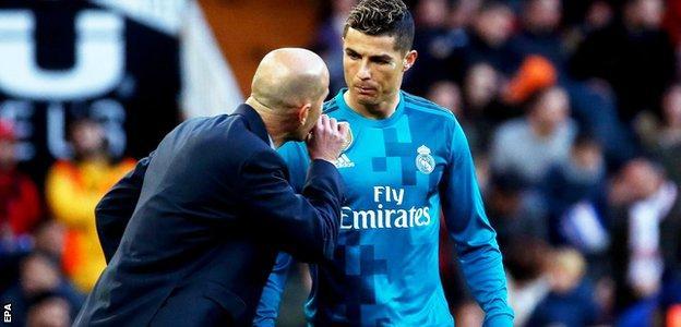 Real Madrid's Cristiano Ronaldo and Zinedine Zidane
