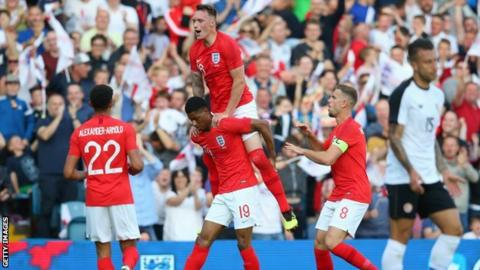 Marcus Rashford celebrates after scoring for England in a friendly against Costa Rica at Elland Road
