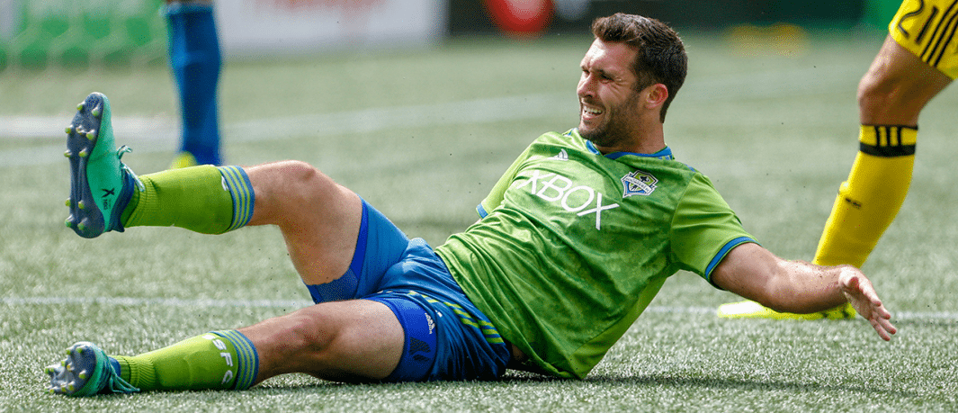 Will Bruin - Seattle Sounders - Sliding in frustration vs. Crew SC