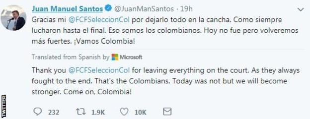 Colombian President Juan Manuel Santos on Twitter