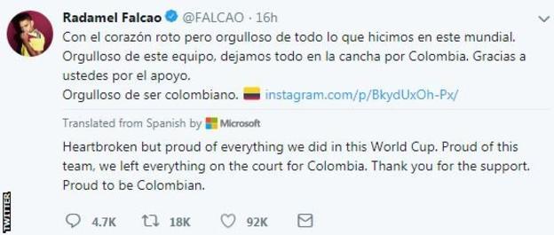 Colombia captain Radamel Falcao on Twitter