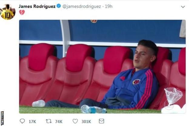 Colombia were without injured Bayern Munich midfielder James Rodriguez