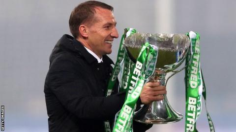 Celtic manager Brendan Rodgers with the Scottish League Cup