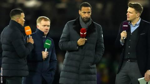Jermaine Jenas, Paul Scholes, Rio Ferdinand and Jake Humphrey