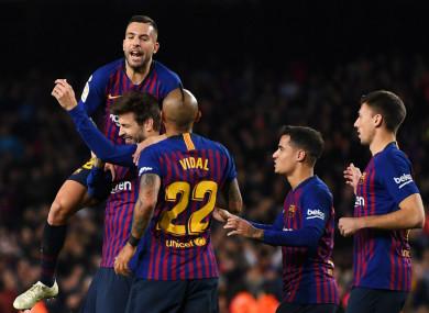 Gerard Pique celebrates his goal against Villarreal
