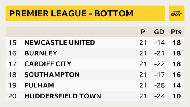 Snapshot of bottom of Premier League table: 15th Newcastle, 16th Burnley, 17th Cardiff, 18th Southampton, 19th Fulham, 20th Huddersfield