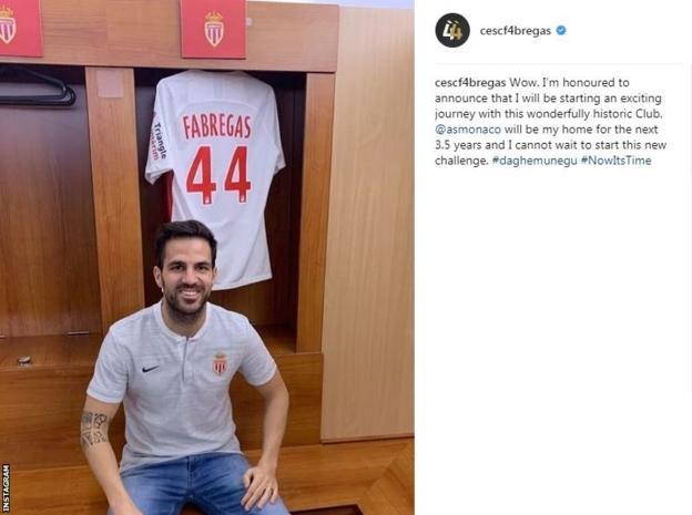 Cesc Fabregas instagram post