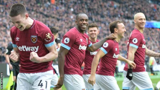 Declan Rice celebrates scoring for West Ham against Arsenal